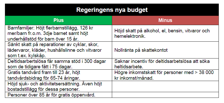 Budget tabell