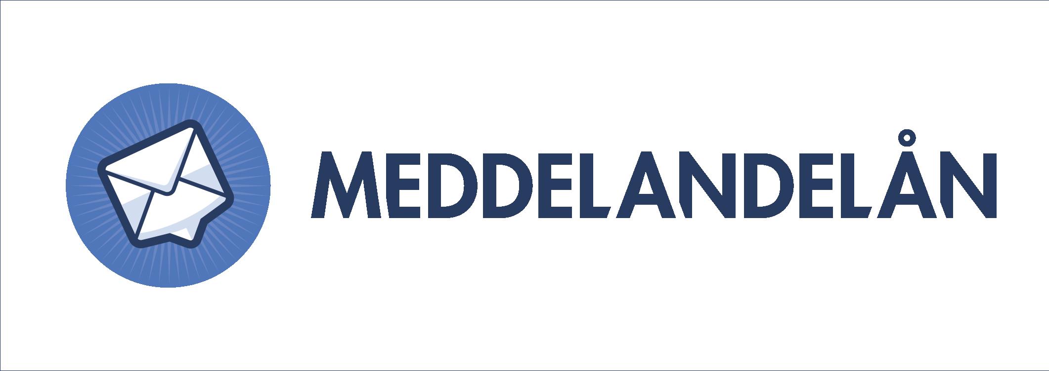 Meddelandelåns logotyp i blå färg med genomskinlig bakgrund