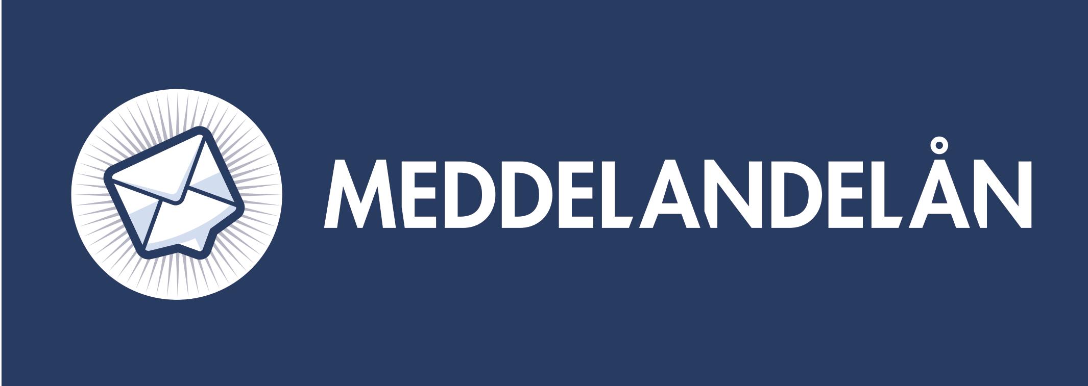 Meddelandelåns logotyp vitt med blå bakgrund